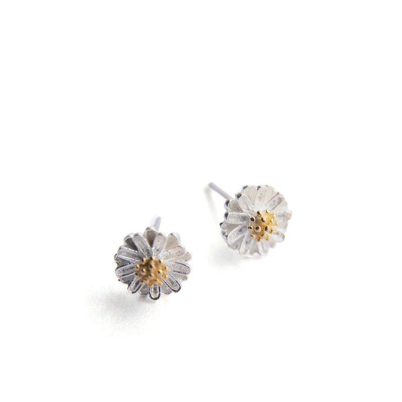 Silver Chrysanthemum Alloy Stud Earrings
