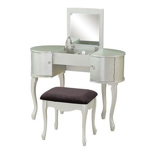 Vanity Makeup Table Dressing Set Wood Stool Bench Flip Top Mirror