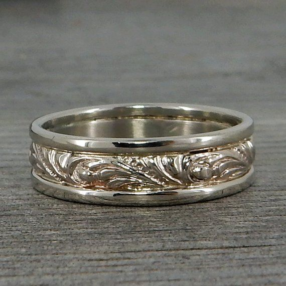 Ivy Scroll Bands: Recycled 14k White Gold Scroll Patterned Wedding Band