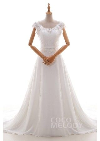 Hübsches Etui Brautkleid in Elfenbein, Chiffon und Tüll mit ...