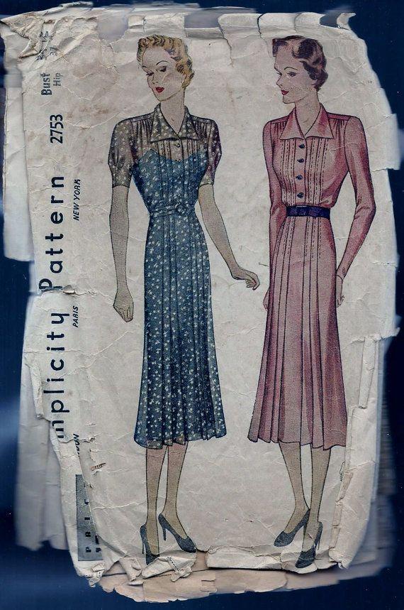 Vintage 1930s Simplicity 2753 Dress Sewing by vintagepatternstore