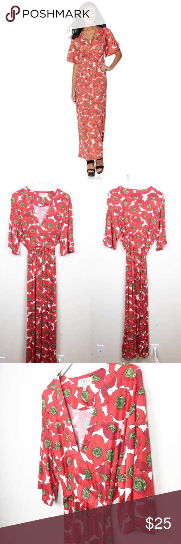 Nikki Poulos Plus Size Poppy Maxi Dress Qvc Floral Print Maxi Dress Dresses Maxi Dress [ 1740 x 580 Pixel ]