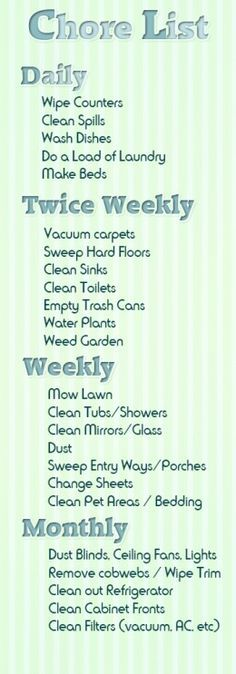 house our family chore list