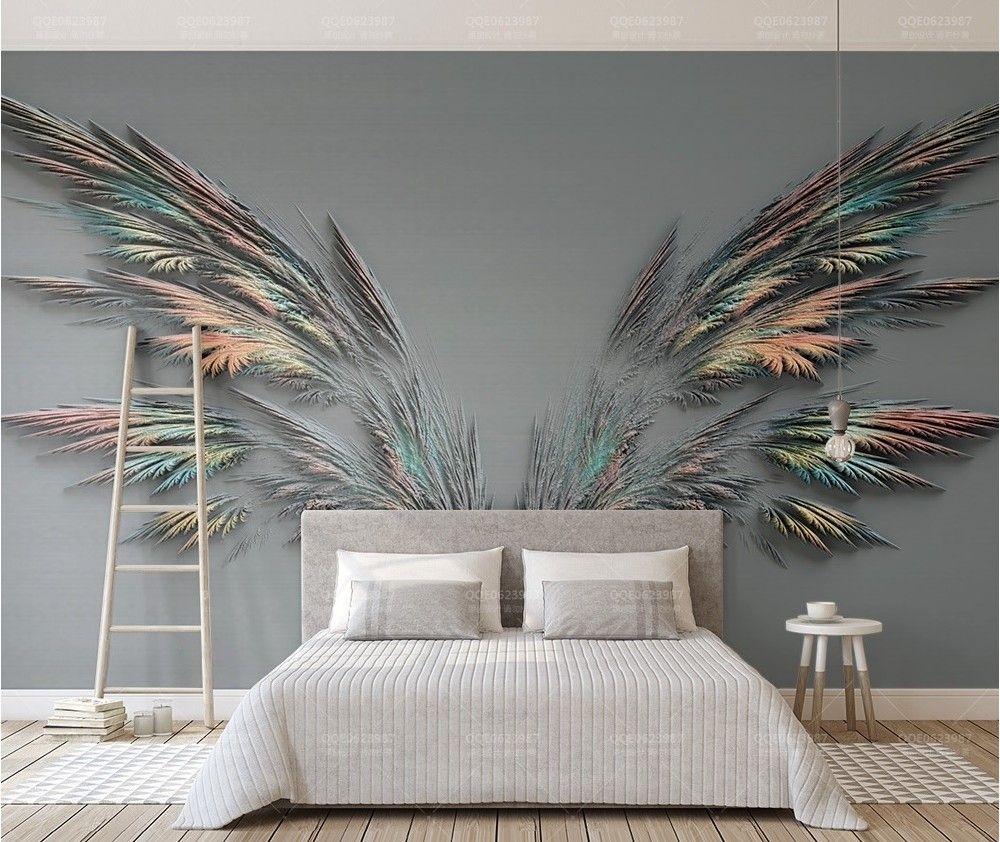 3D Embossed Look Dark Wing Wallpaper Mural Living room