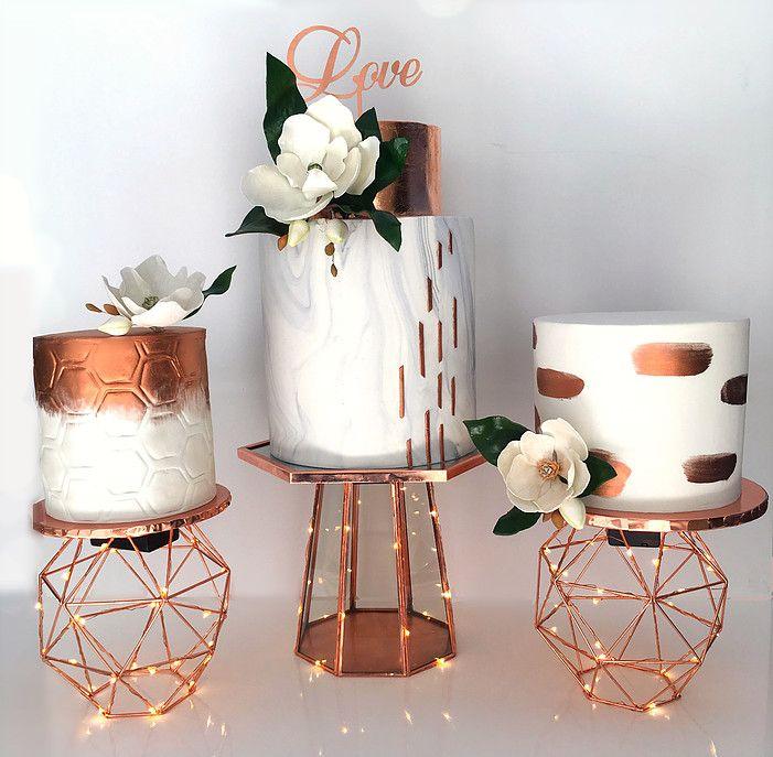 Rose Gold Amp Marble Wedding Cake Ensemble My Wedding
