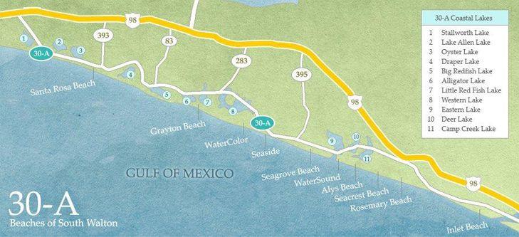 Seacrest Beach Florida Map.Beach Rental Seaside Florida Beach Vacation Watercolor Seacrest