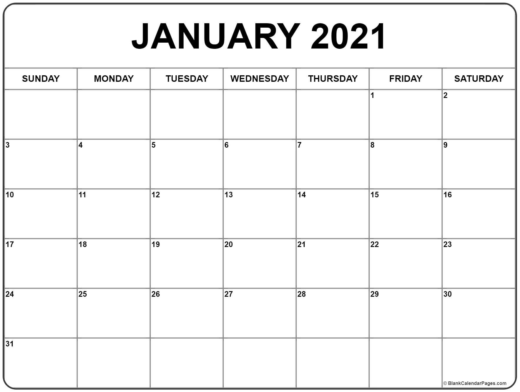 Blank Calendar Jan 2021 January 2021 Printable Calendar in 2020 | Monthly calendar