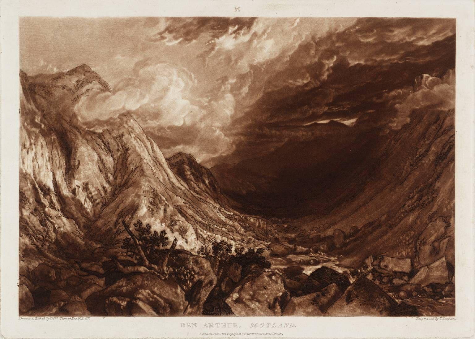 LIBER STUDIORUM. PART 14 ( 01 / 01 / 1819 ). PLATE 69. BEN ARTHUR, SCOTLAND. Etcher : J.M.W. Turner. Engraver : Thomas Lupton.