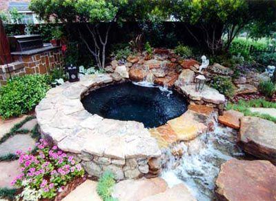 Hot Tub Pool Water Features Swimming Pool Waterfall Backyard Spa