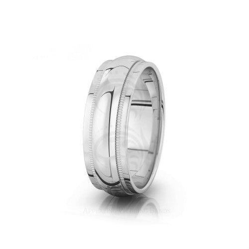 Solid 10k White Gold 5mm Flat with Step Edge Wedding Band