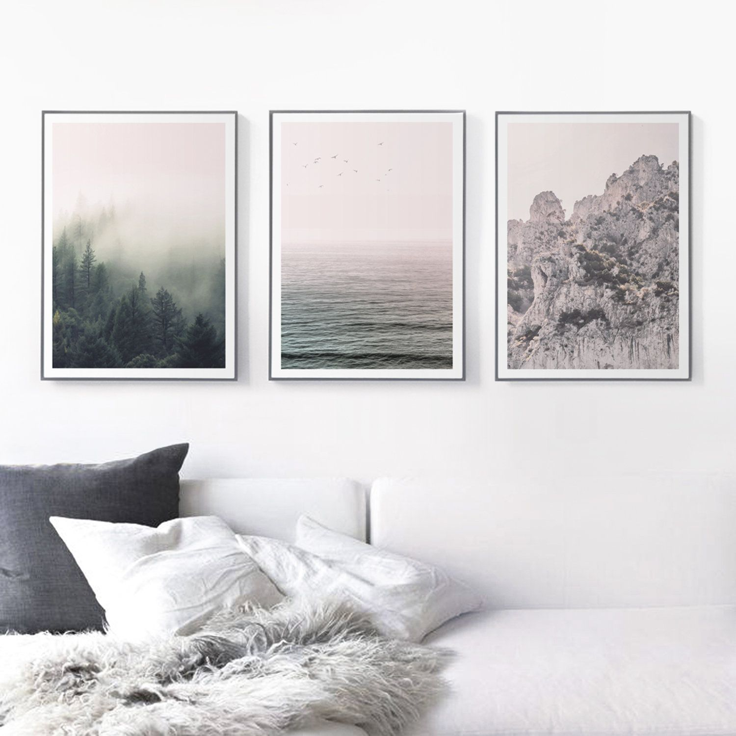 Blush Nature Print Set Of 3 Mountains Art Print Forest Wall Etsy Forest Wall Art Mountain Art Print Nature Prints