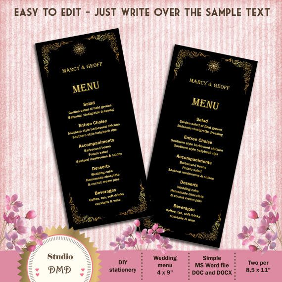 Printable Menu Card Template Great Gatsby Style Art by StudioDMD - bar menu template