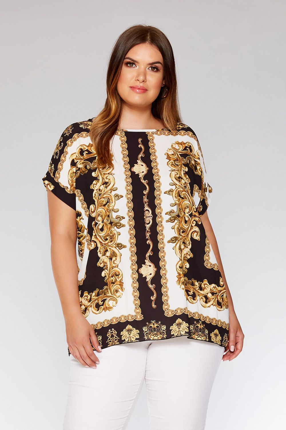 3bd30d172a80 Curve Black And Gold Scarf Print Top | Tendencias otoño 2018 | Gold ...