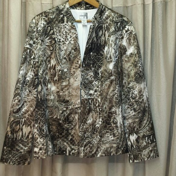"""Chico's Patterned Silk/Cotton Blazer From a smoke free home.  Worn once.  Hook & Eye Closures.  Made of Silk & Cotton with polyester lining. Bust 42"""" Waist:  38"""" Hips:  40"""" Length:  26"""" Chico's Jackets & Coats Blazers"""