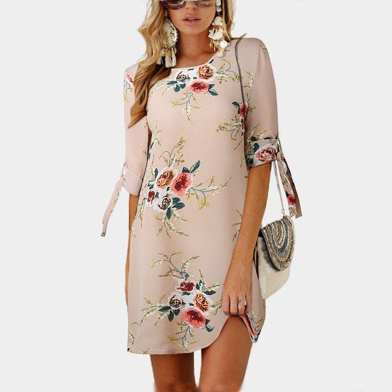 f15b1fcfc5e32 Women Dress 2018 Summer Sexy Off Shoulder Floral Print Chiffon Dress ...