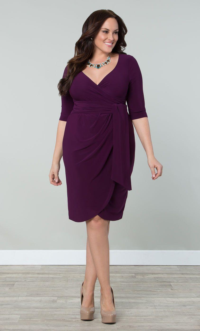 Slip on our plus size Harlow Faux Wrap Dress in a pretty purple ...