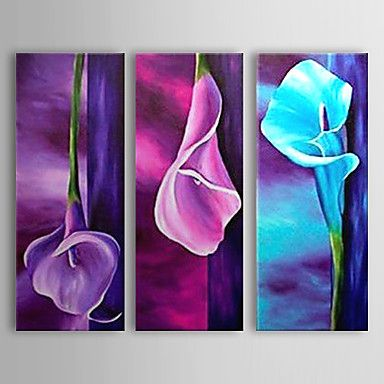 Hand Painted Oil Painting Floral Colorful Lily with Stretched Frame Set of 3 1308-FL0764 2016 - $89.99