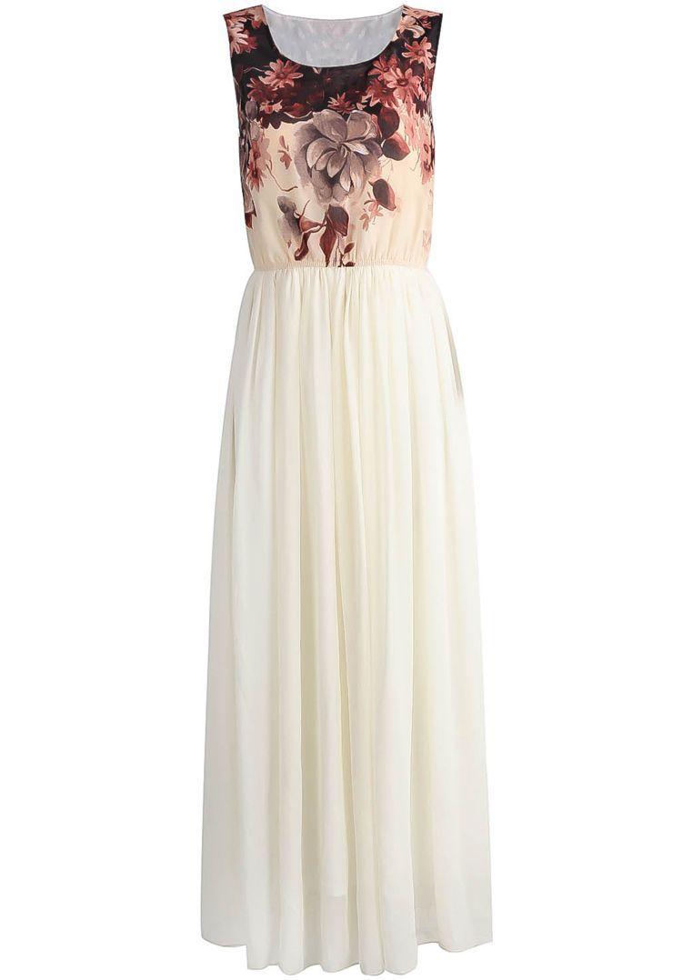 Apricot Sleeveless Floral Chiffon Full Length Dress