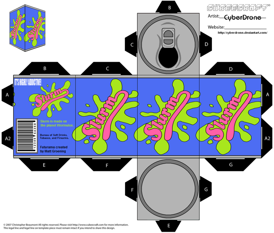 My Custom Cubeecraft / Papercraft Cutout template of a Can of Slurm from the TV cartoon series Futurama. (All My Custom Fan Art Cubeecraft Templates are made on MSPaint. and The 3D illustrations on...