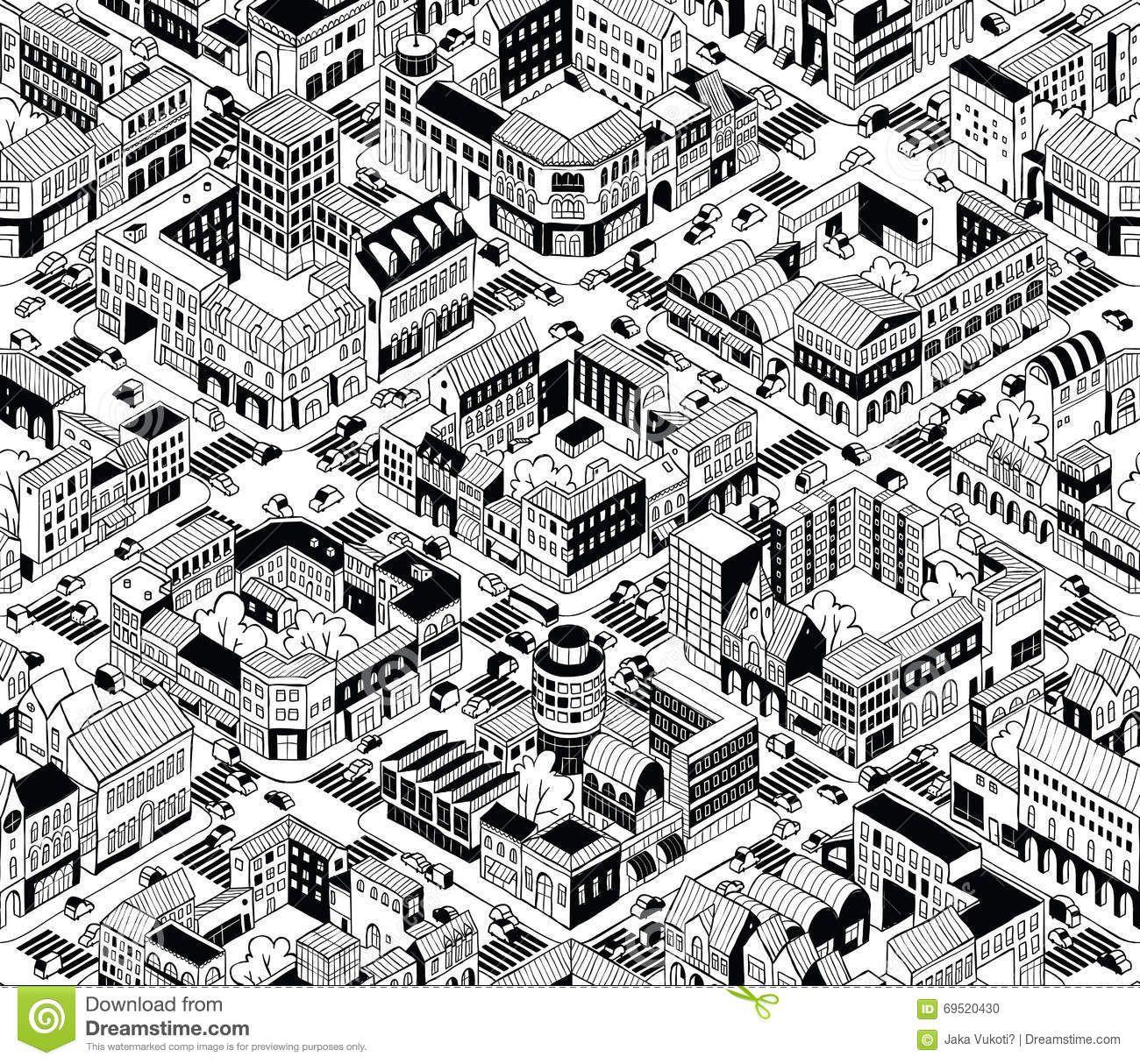 City Urban Blocks Isometric Seamless Pattern