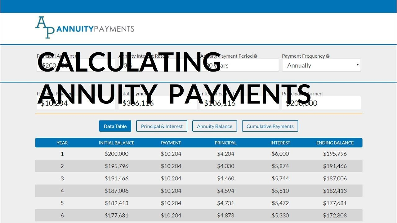 calculating annuity payments for an annuity https iqcalculators