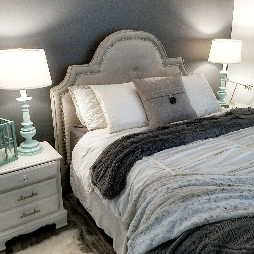 Dark Grey With Wood Accent Wall Bedroom: Our Super Cozy Gray And White Bedroom With Pops Of Teal
