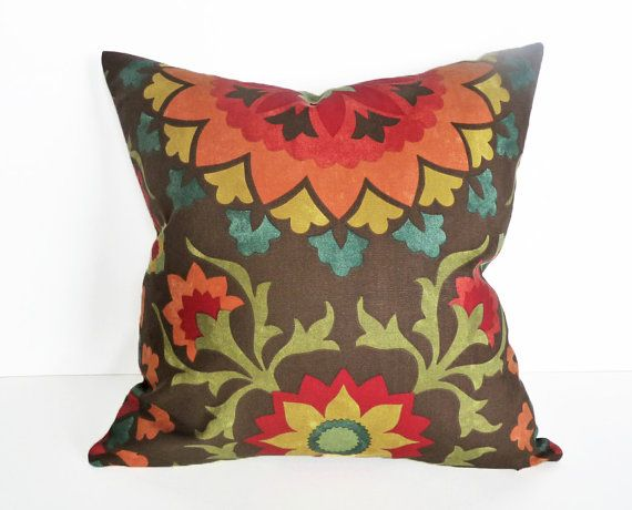 Red Green Throw Pillow : Colorful Suzani Pillow, Decorative Cushion Covers, Organic Dark Brown Orange Red Green Blue ...