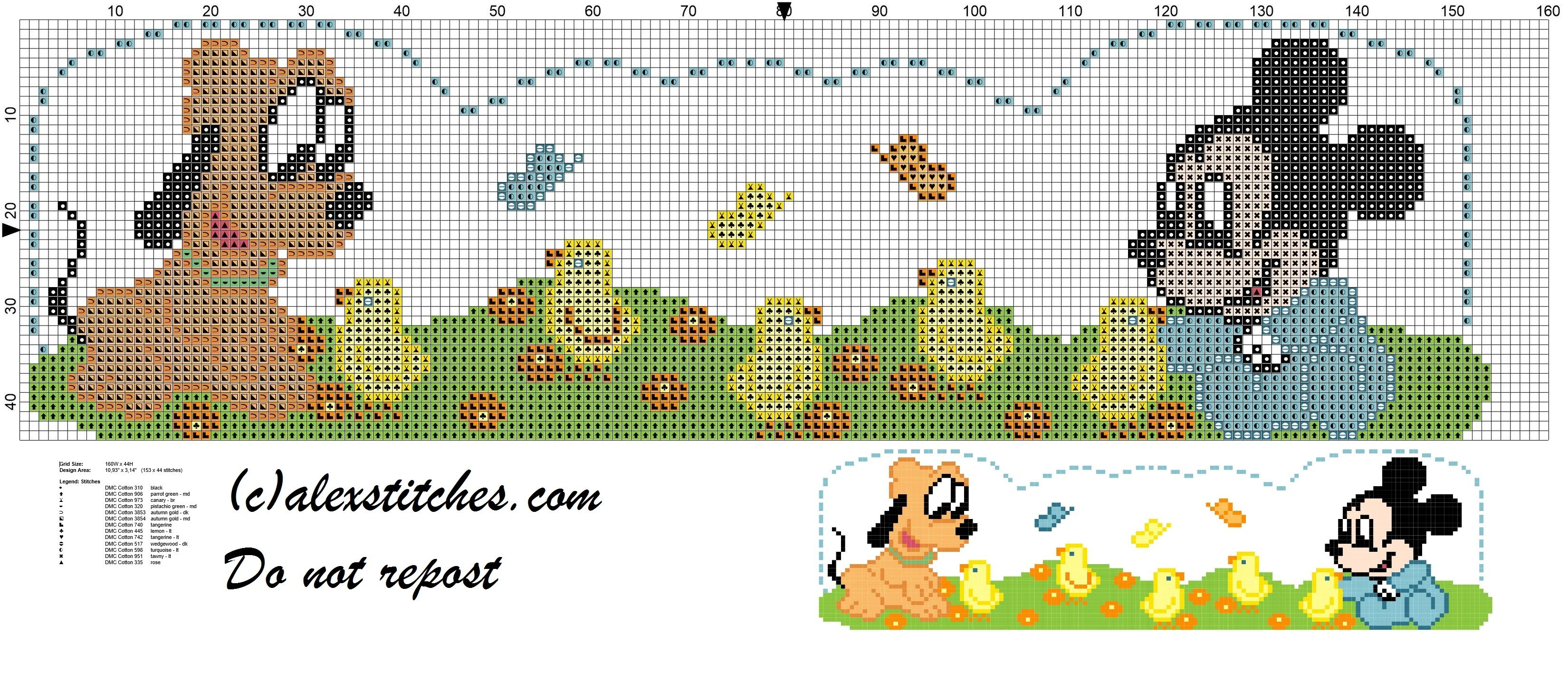 Sheet with baby Mickey Mouse, Pluto and zebra cross stitch pattern