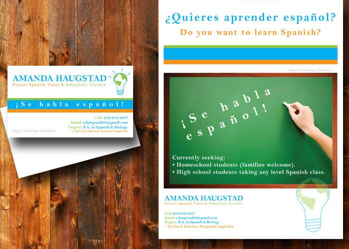 Spanish Tutoring Business Cards And Flyer By GowatermarkdesignCom