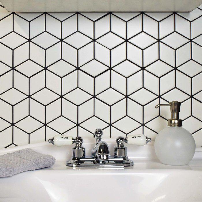 Retro 2 X 3 Porcelain Grid Mosaic Wall Floor Tile Mosaic Backsplash Kitchen Rhombus Tile Porcelain Mosaic