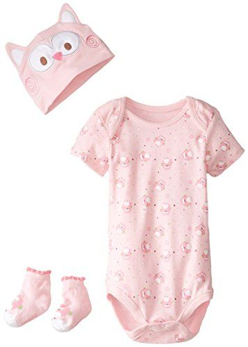 ac33b52b4 Lovespun Baby-Girls Newborn Owl Print 3 Piece Creeper Hat and Sock ...