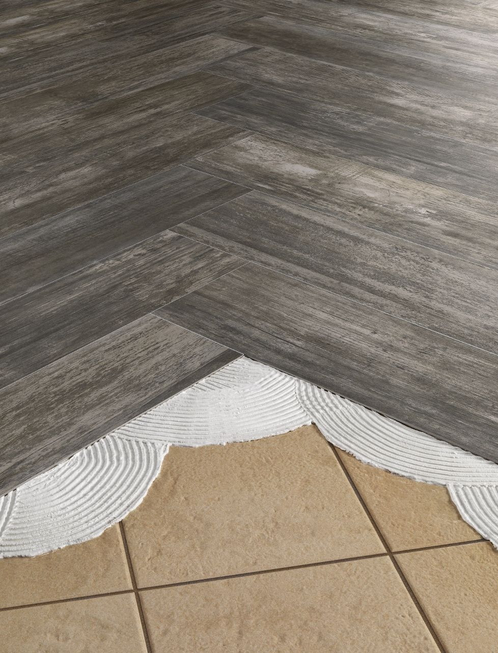 Install thinnertile right over old outdated tile floors for Colle sur carrelage