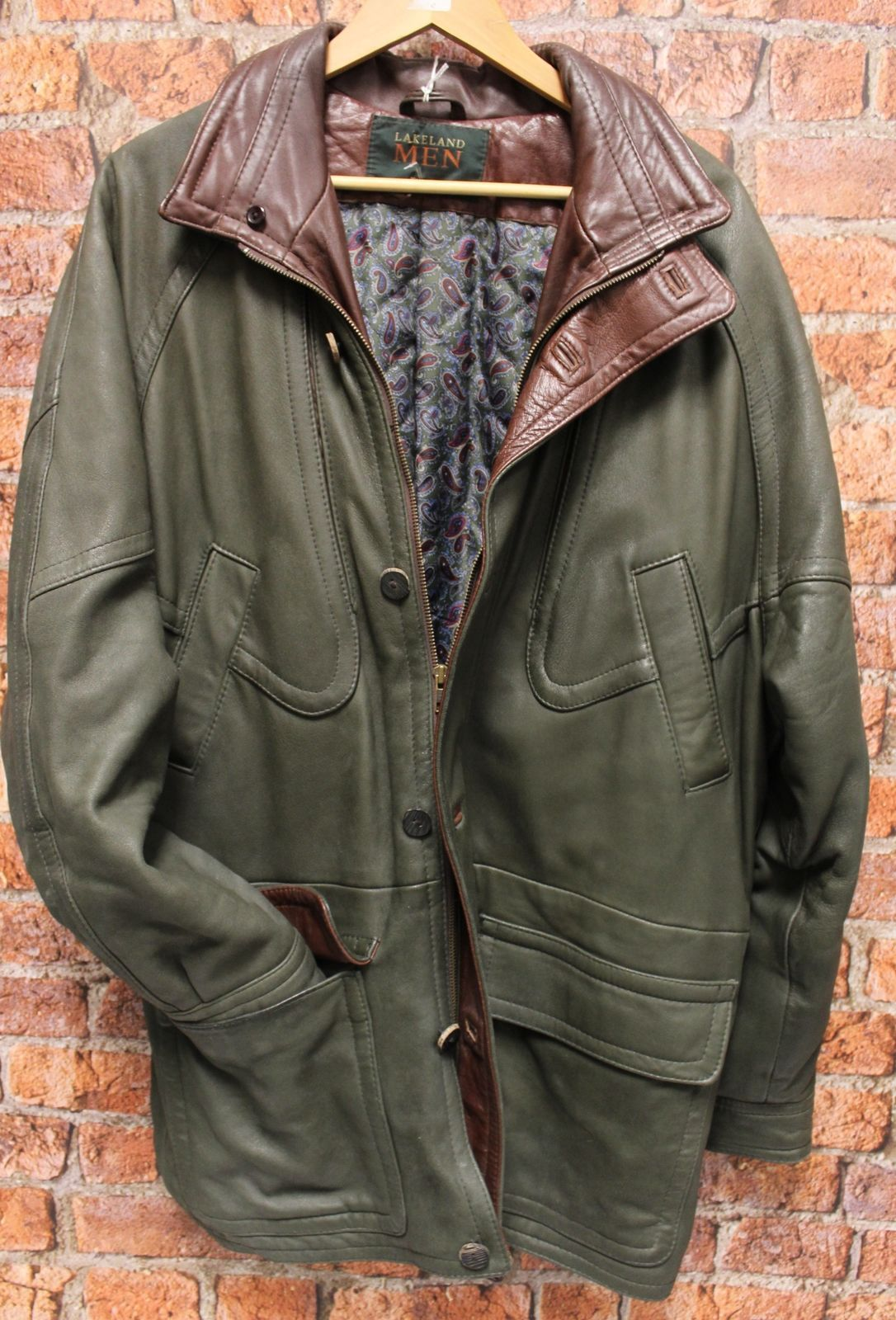 Mens LAKELAND Green Genuine Leather Zip Front jacket Coat