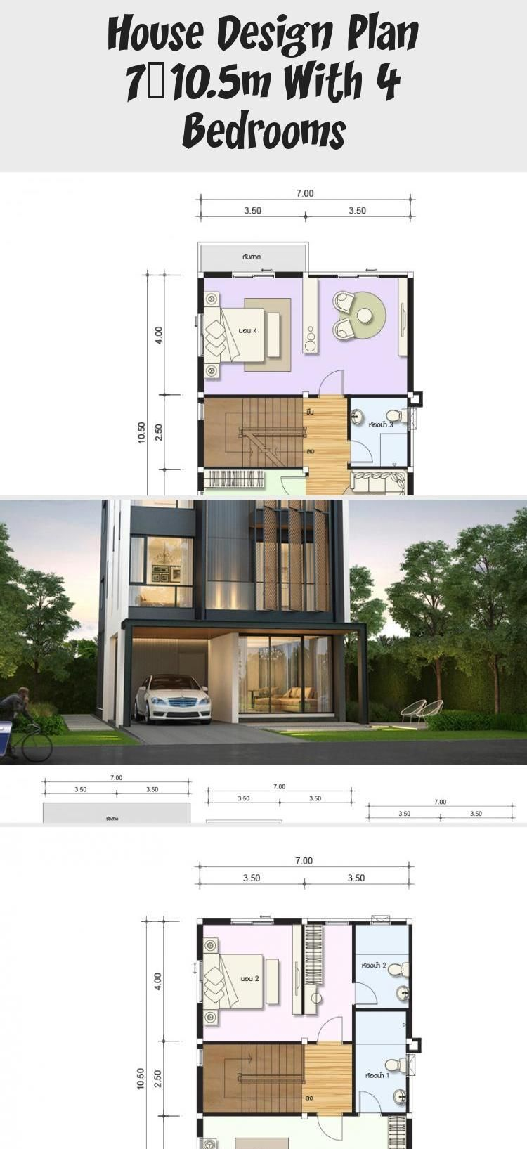 House Design Plan 7x10 5m With 4 Bedrooms Home Design With Plansearch Housedesignaffordable Class In 2020 Home Design Plans Small House Design Classic House Design