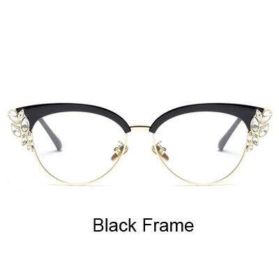 b815750271 Ralferty Royal Cat Eye Glasses Frames Women Rhinestone Prescription Optical  Eyeglass Frame Black Vintage Eyewear Oculos F97329