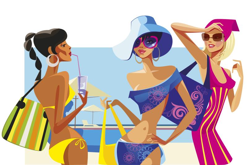 Chicas En Banador Y Vestidas Para El Bano Chicas Sombrero Png