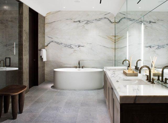 Cuarto De Bano Con Paredes En Marmol Decoracao Casa De Banho Banho