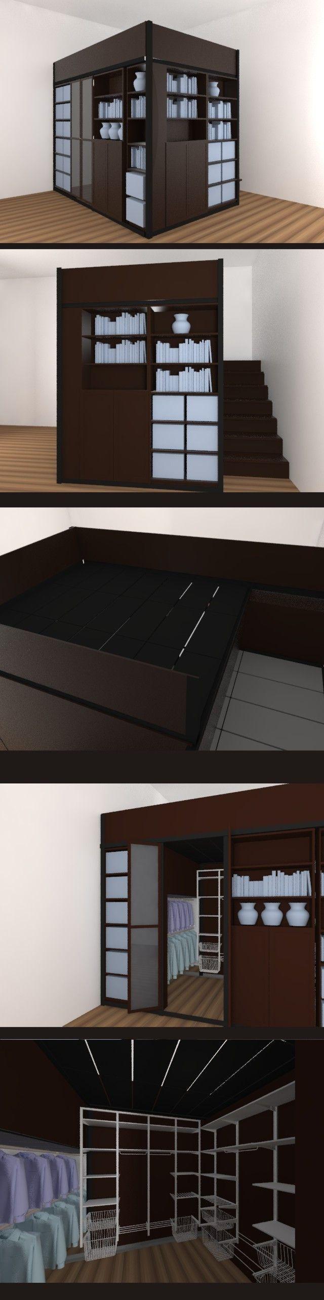 LOFT IDEA IKEA BULLY furniture 4 m2 gardrobe + bed