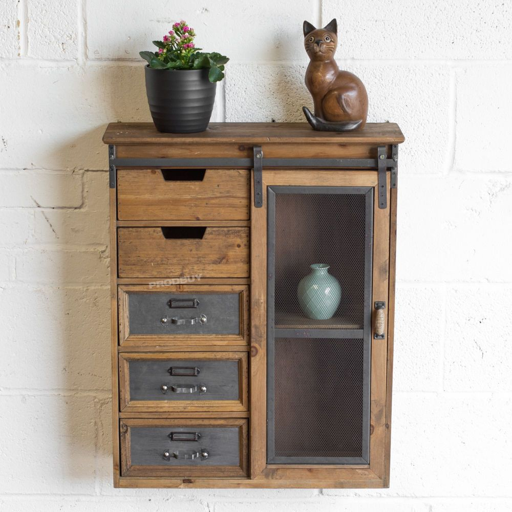 Vintage Floating Storage Unit Cabinet Cupboard Wall Shelving With