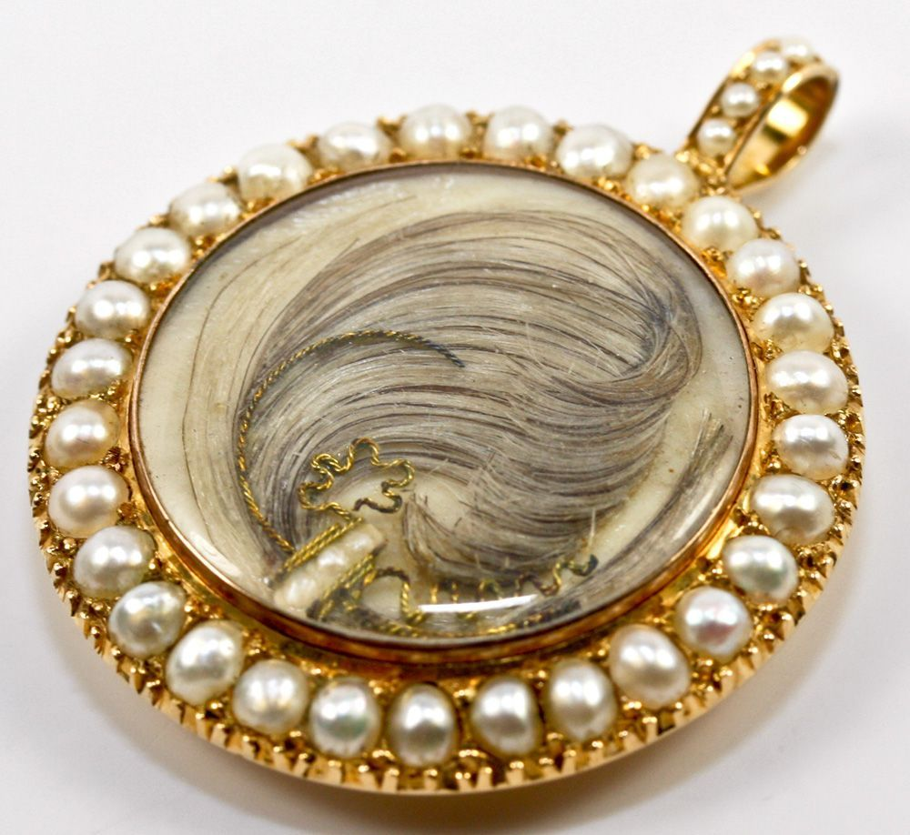 Antique Georgian 18k Gold Mourning Pendant, Seed Pearls and a Locket Back - Hair Art  Photo credit: Antiques & Uncommon Treasure