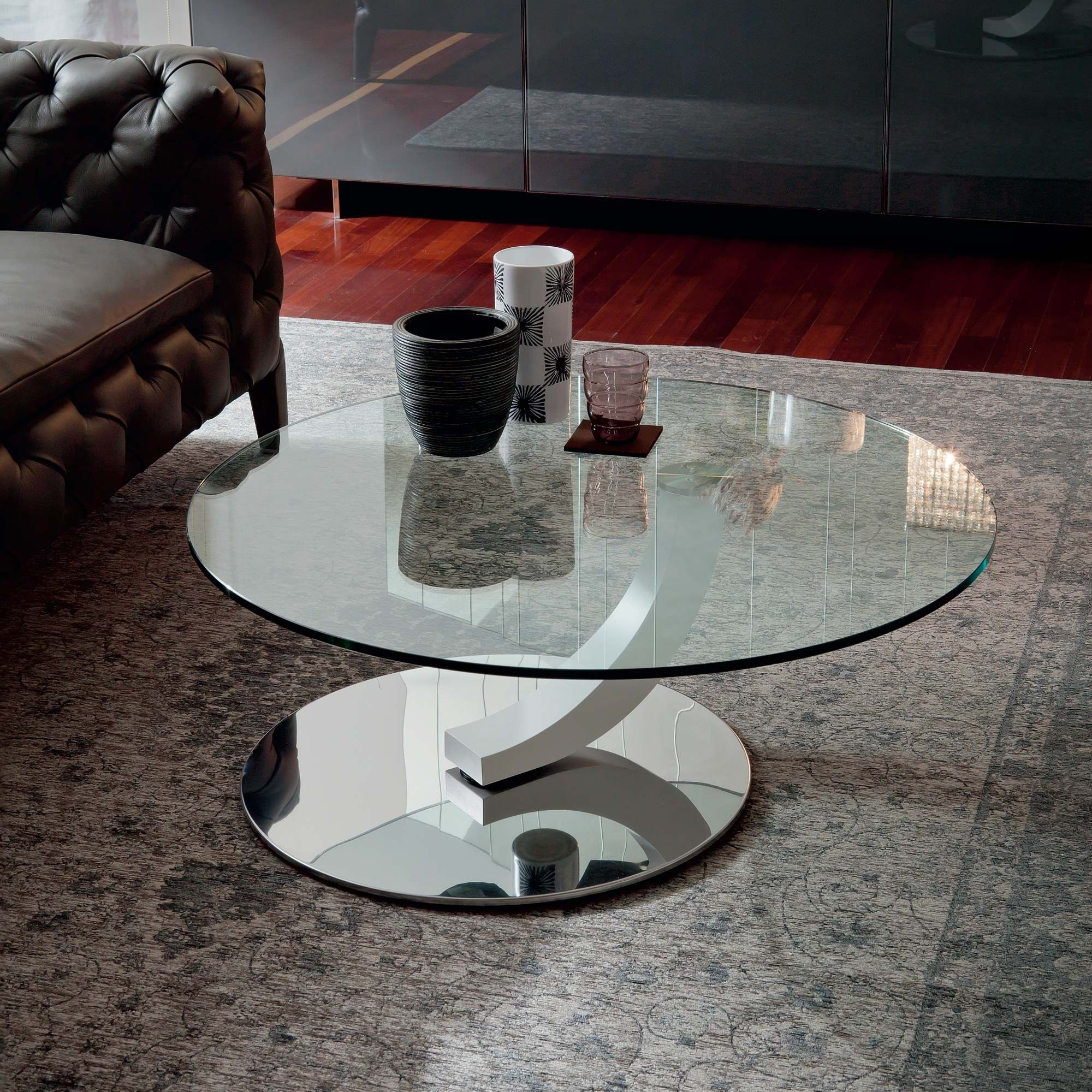 Glass coffee table mod Cobra Inox Cattelan Mesa de centro de