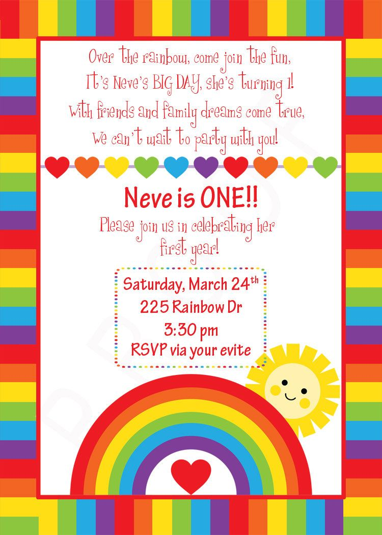 Rainbow Birthday Invitation Custom Rainbow Design Sunshine and