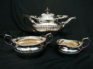 ANTIQUE EARLY 19thC GEORGIAN OLD SHEFFIELD SILVER PLATED 3 PIECE TEA SET c1820 & ANTIQUE EARLY 19thC GEORGIAN OLD SHEFFIELD SILVER PLATED 3 PIECE TEA ...