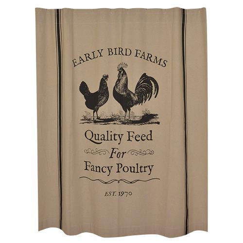 Farmhouse Rooster Shower Curtain Primitive Bathrooms Farmhouse