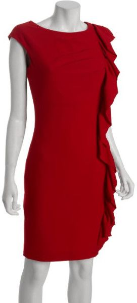 red dress with a ruffle down a side