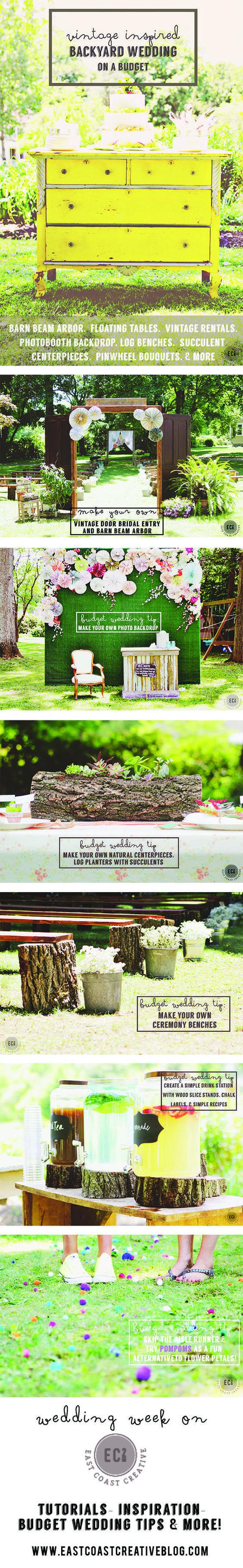 DIY Wedding Ideas on a Budget- Vintage Inspired Backyard Wedding with lots  of tutorials, ideas, and tip… | Diy backyard wedding, Backyard wedding,  Wedding hacks diy