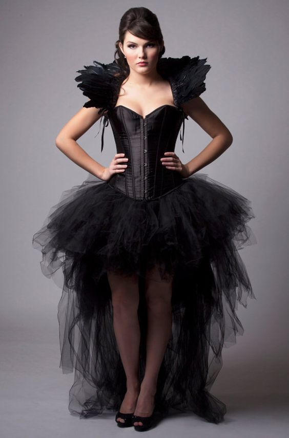 Custom Black Queen Corset Dress Burlesque Costume Feather High Collar Wedding Gown By MilaHoffmanCouture On Etsy