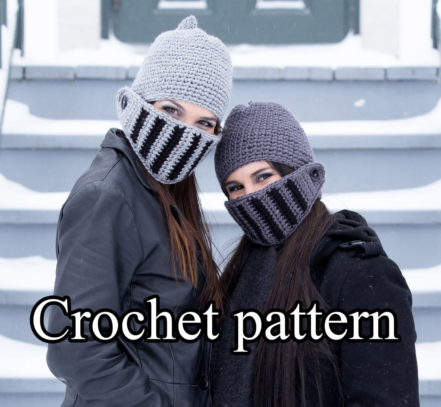 Knight helmet crochet hat pattern for winter in english and french ...