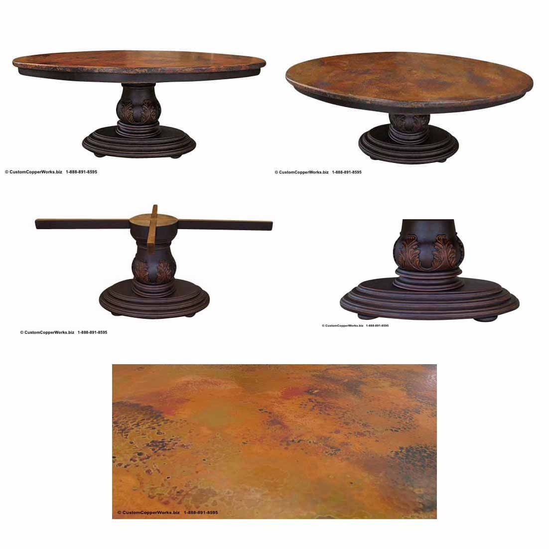 Copper Table Top Oval Dining Table Mounted On The Christina Wood