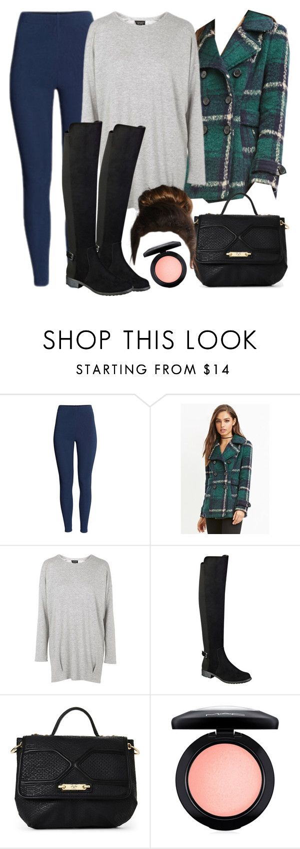 """""""Spencer Hastings inspired winter outfit with leggings"""" by liarsstyle ❤ liked on Polyvore featuring H&M, Forever 21, Topshop, Liz Claiborne, MAC Cosmetics, school, college and WF"""